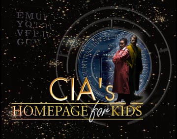 CIA Homepage for Kid's--image of a man and a woman in trenchcoats superimposed over a the CIA seal on a field of stars.