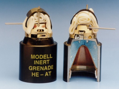 The dual-purpose HEAT grenades for the SM 120mm Mortar Cargo Bomb have fragmentation and shaped charge effect.